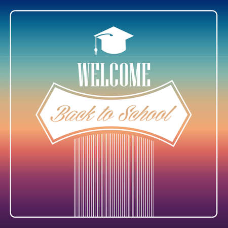 degrade: Colorful vintage back to school text  background.