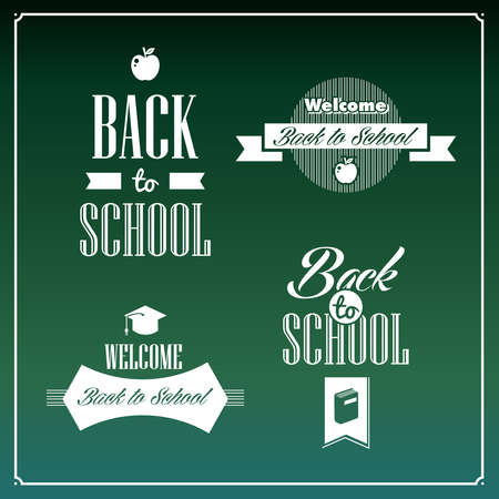 Back to school retro calligraphic ribbons design vintage style elements.  Vector