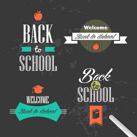 Back to school colorful vintage ribbons design style, grunge background.  Vector