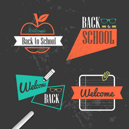 Back to school colorful retro ribbons design style, grunge background.  Vector