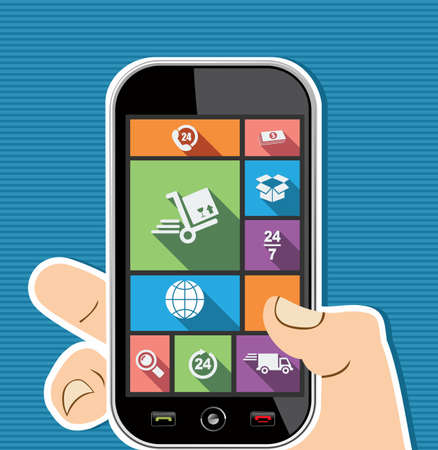 Shipping concept human hand holds a smart phone UI applications graphic user interface flat icons set.  Vector