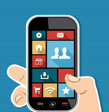 Social media elements human hand holds a smart phone UI applications graphic user interface flat icons set. Vector