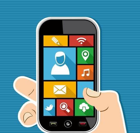 Social media concept human hand holds a smart phone UI applications graphic user interface flat icons set.  Vector