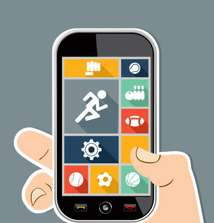 Sports workout UI concept human hand holds a smart phone applications graphic user interface flat icons set.  Vector