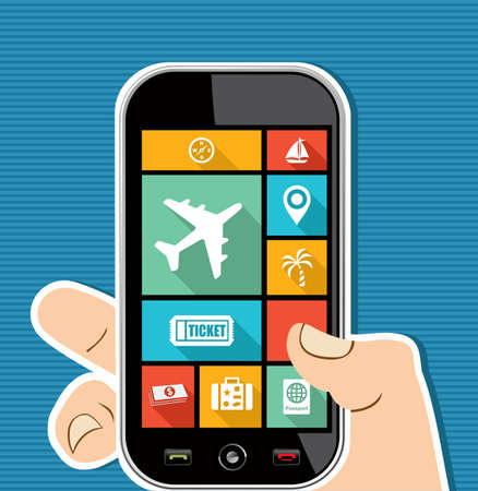 Travel concept human hand holds a smart phone UI applications graphic user interface flat icons set. Vector
