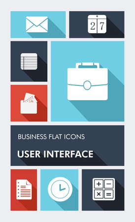 phone number: Business elements mobile applications graphic user interface flat icons set.