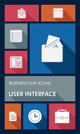 Business elements mobile  applications graphic user interface flat icons set. Vector