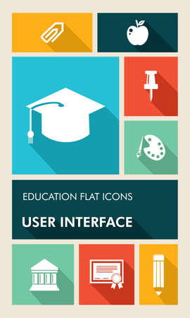 Back to school mobile UI applications graphic user interface flat icons set.  Vector