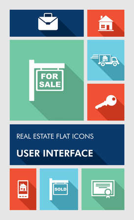 Real estate mobile  applications graphic user interface flat icons set. Ilustração