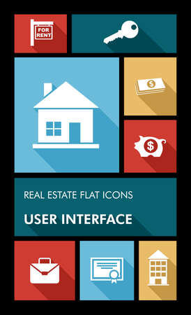 house keys: Real estate mobile  applications graphic user interface flat icons set.