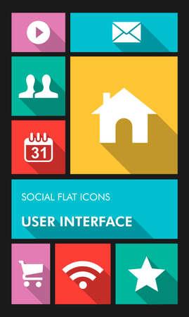 Aplicaciones móviles de medios de comunicación social de interfaz de usuario gráfico iconos planos establecidos.