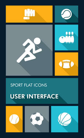 running: Sport workout mobile applications graphic user interface flat icons set.  Illustration