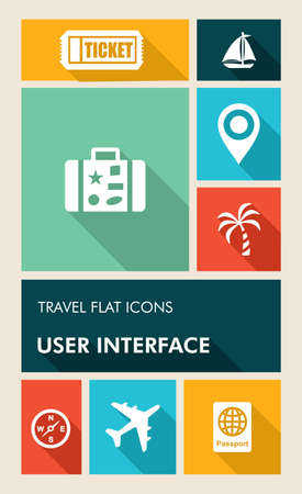 ticket icon: Travel mobile  applications graphic user interface flat icons set.