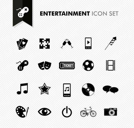 entertainment icon: Modern entertainment leisure and fun icon set. Vector file in layers for easy editing.