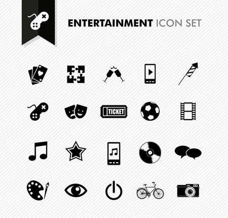 conjunto: Modern ocio entretenimiento y diversión icon set. Archivo vectorial en capas para facilitar la edición. Vectores