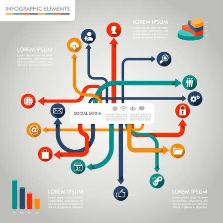 iconos de m�sica: Los medios sociales redes diagrama infograf�a con los elementos gr�ficos de informaci�n establecido. Archivo vectorial en capas para facilitar la edici�n. Vectores