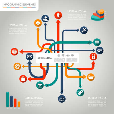 Social media networks infographic diagram with information graphics elements set. Vector file in layers for easy editing. 向量圖像