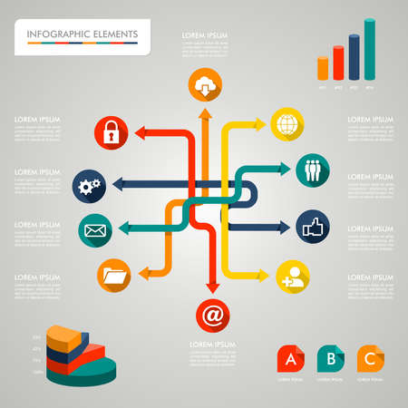 Infographic network design icons text and values concept illustration background. Vector file layered for easy editing.