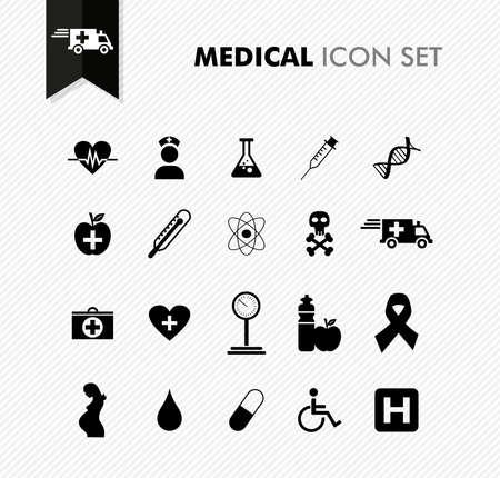 urgencias medicas: De salud m�dica moderna, la enfermedad de bienestar conjunto de iconos. Archivo vectorial en capas para facilitar la edici�n.