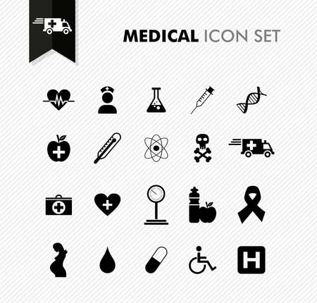md: Modern medical health, disease wellness icon set. Vector file in layers for easy editing.