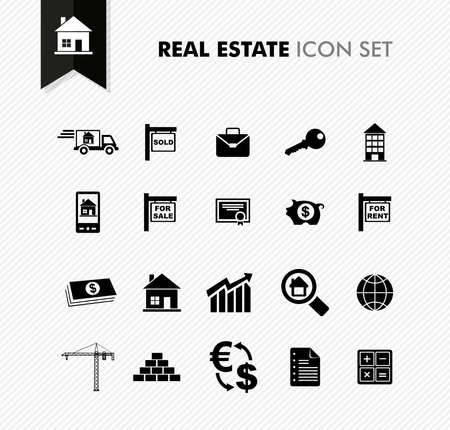 Modern Real Estate rental, sell and purchase icon set. Vector file in layers for easy editing. Vector