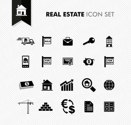 Moderne Real Estate verhuur, verkoop en aankoop icon set. Vector bestand in lagen voor eenvoudige bewerking. Stock Illustratie