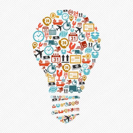 Idea Light Bulb: Shipping Icons Idea Light Bulb Shape Composition. Vector  In Layers For