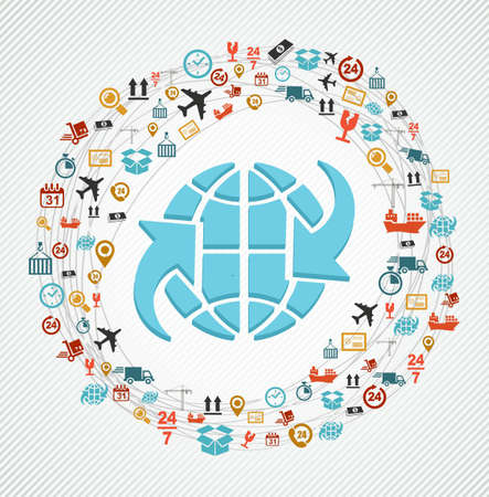 24 7: Shipping icons network around world symbol composition. Vector file in layers for easy editing.