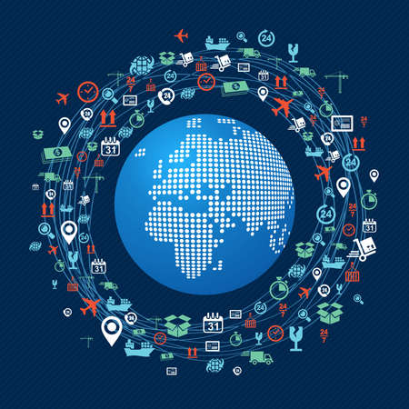 money online: Shipping concept icons network circle around planet Earth with focus in Africa and Europe. Vector in layers for easy editing. Illustration