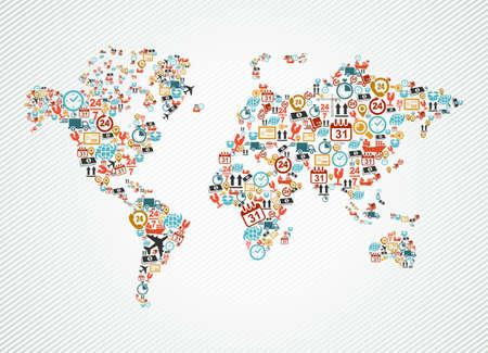 world: Expédition et de livraison des icônes dans la carte du monde illustration de forme. Vecteur de fichier en couches pour un montage facile.
