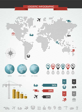 Global logistics infographic illustration. World map with information graphics elements about shipping and worldwide goods trading. Vector file in layers for easy editing. Vector