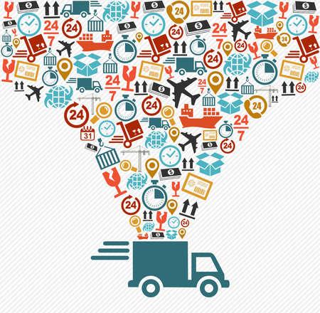 Scheepvaart logistiek levering concept: speedy truck met pictogrammen splash illustratie. Vector bestand in lagen voor eenvoudige bewerking.