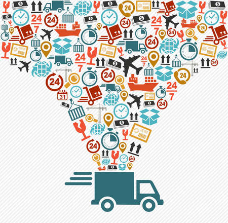 internet shop: Shipping logistics delivery concept: speedy truck with icons splash illustration. Vector file in layers for easy editing.
