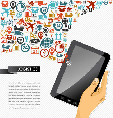 Shipping logistics application concept icons splash composition. Human hand tablet pc illustration. Vector file in layers for easy personalization. Ilustracja
