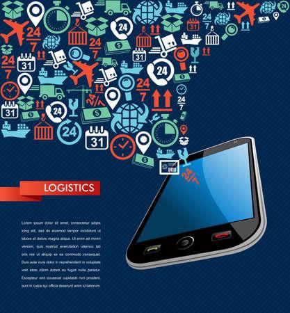 Scheepvaart logistiek smart phone applicatie begrip pictogrammen instellen plonsillustratie. Vector bestand in lagen voor eenvoudige bewerking. Stock Illustratie