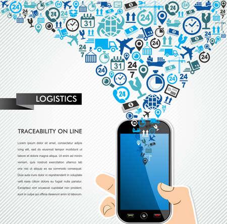 Scheepvaart en logistiek mobiliteitsconcept: hand houdt een slimme telefoon met pictogrammen splash. Vector bestand in lagen voor eenvoudige bewerking. Stock Illustratie