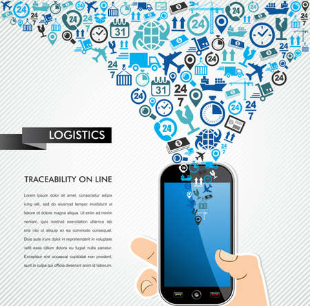 Shipping and logistics mobility concept: hand holds a smart phone with icons splash. Vector file in layers for easy editing.