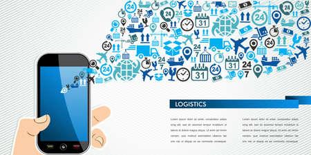 Scheepvaart en logistiek mobiliteitsconcept: hand houdt een slimme telefoon met pictogrammen splash. Vector bestand in lagen voor eenvoudige bewerking. Vector Illustratie