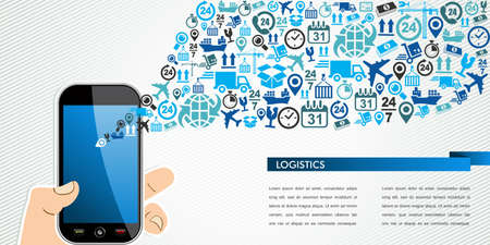 mobile application: Shipping and logistics mobility concept: hand holds a smart phone with icons splash. Vector file in layers for easy editing.
