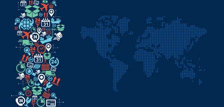 embarque: Env�o del concepto de log�stica iconos chapoteo con ilustraci�n mapa del mundo. Archivo vectorial en capas para facilitar la edici�n.