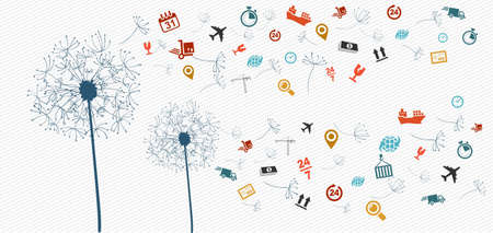 shipment parcel: Shipping logistics flying icons dandelion concept illustration. Vector file in layers for easy editing. Illustration