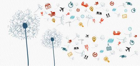 Versandlogistik fliegen icons Löwenzahn Konzept Illustration. Vector-Datei in Schichten für die einfache Bearbeitung. Standard-Bild - 21821264