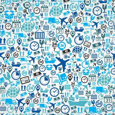 Expédition logistique bleu concept icônes, seamless fond. Vecteur de couches pour faciliter l'édition. Vecteurs