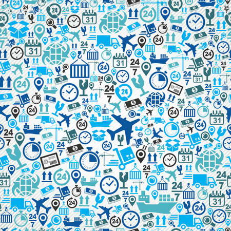 layered: Shipping logistics concept blue icons, seamless pattern background. Vector layered for easy editing.