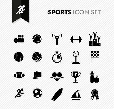 Modern sports workout and exercise icon set. Vector file layered for easy editing. Vector
