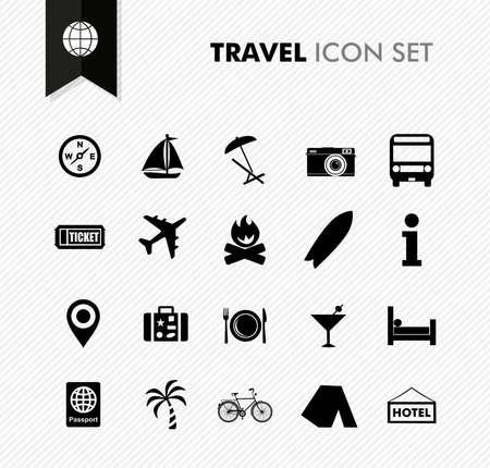 現代旅行休暇や休日アイコンを設定します。ベクトル レイヤーの編集ファイルを簡単。