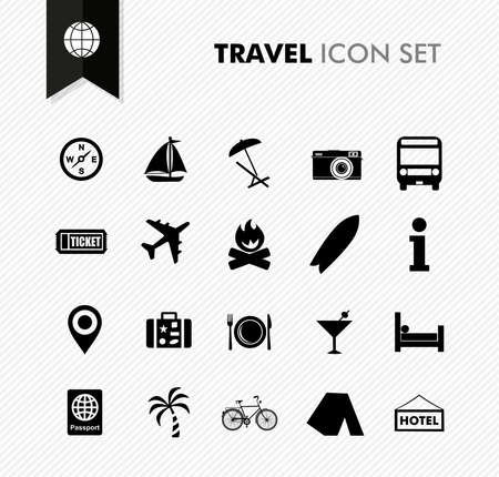 Modern travel vacations and holidays icon set. Vector file in layers for easy editing.