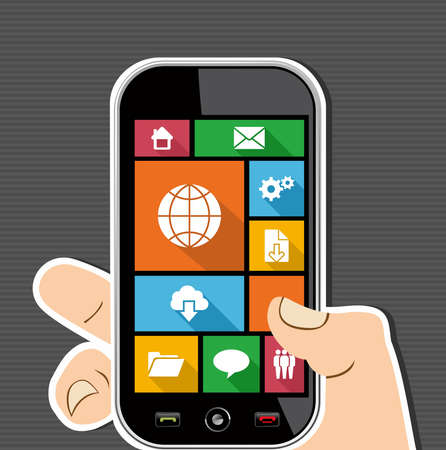 Internet elements human hand holds a smart phone UI applications graphic user interface flat icons set. Vector layered for easy editing. Stock Vector - 21821269