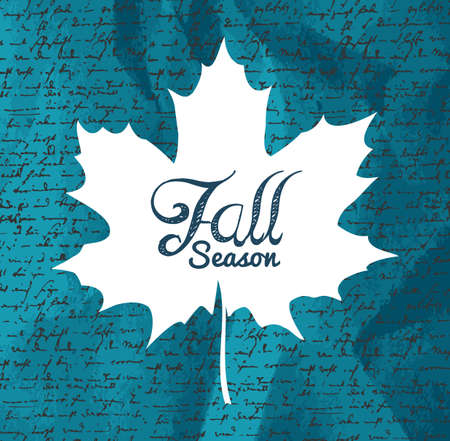 Autumn Fall season text maple leaf shape with hand written background.  Vector