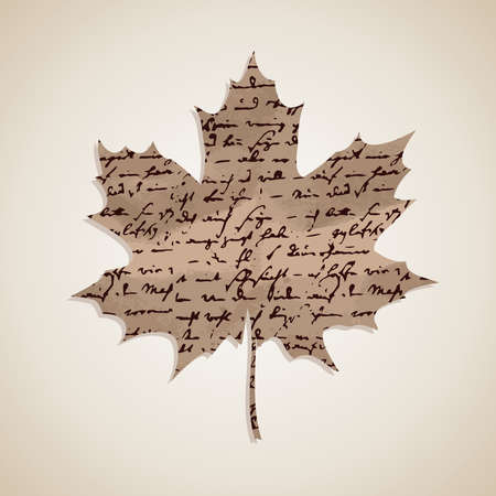 written text: Autumn Fall maple leaf shape with hand written text background.  Illustration